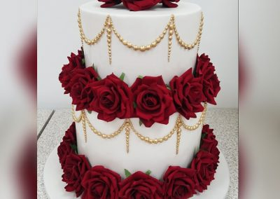 Wedding Cake - 2 tier - Red roses border with gold pearl decor