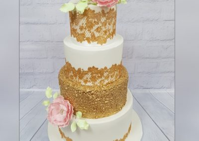 Wedding Cake - 4 tier - Gold decoration, pink and pale green leaves