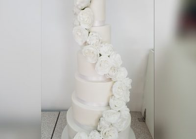 Wedding Cake - 6 tier - white roses
