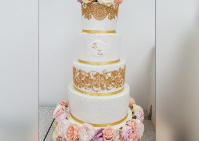 Wedding Cake - 4 tier - Floral base with rose head