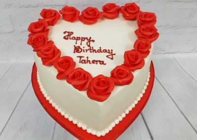 Birthday Cake - Heart Shaped cake with red roses