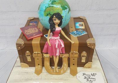 Birthday Cake - Traveller - Suitcase with globe and passport