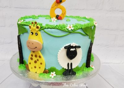 Birthday Cake - Animals, sheep, giraffe in field