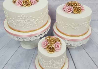 Wedding Cake - Separates - Gold / Pink Roses