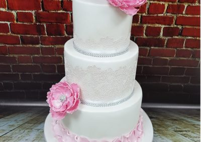 Wedding Cake - 3 tier - Pink flowers