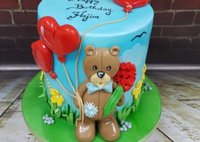 Birthday Cake - Teddy Bear with heart balloons