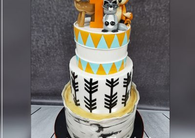 Birthday Cake - 3 tier - woodland fox, deer, black, gold and triangle top border