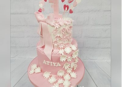 Birthday Cake - 1st birthday - two tier with cutout flowers and heart top