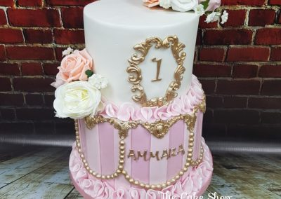 BIrthday Cake - 1st birthday - two tier - pink ribbons with gold pearl deco and flowers