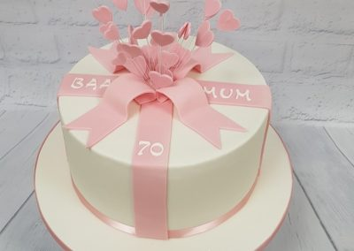 Happy Birthday Mum 70th cake - pink ribbons with hearts