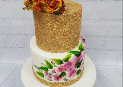 Wedding Cake - Two Tier - Gold glitter with painted flower base