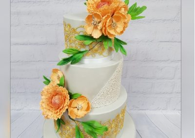 Wedding Cake - 3 Tier - Orange flowers with gold patterns