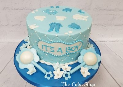 Congratulations - It's a boy cake with rattles