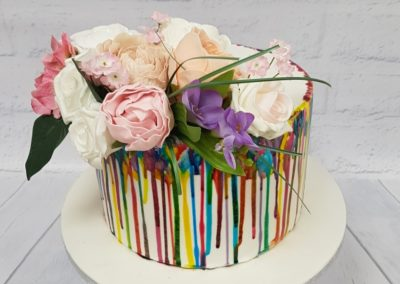 Birthday Cake - Multicolour colour drops with roses