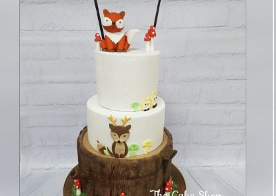 Birthday CAke - 3 tier - Fox and Bear woodland design