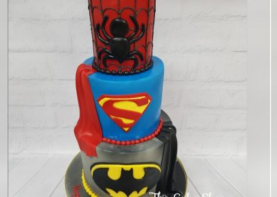Birthday Cake - 3 tier - Batman, Superman and Spiderman