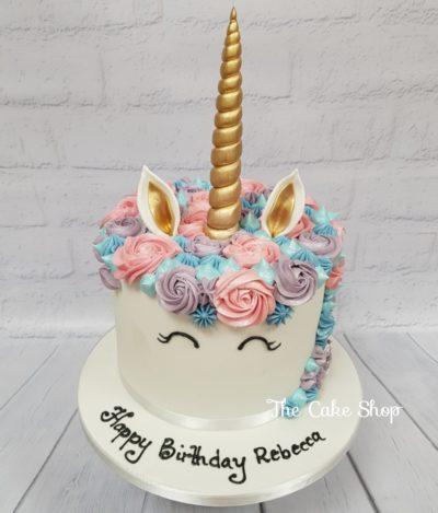 Birthday Cake - Unicorn design with pink and purple roses