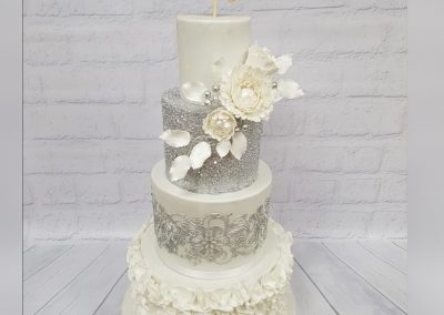 Wedding Cake - 4 tier - Just Married, Silver organza flowers with silver decor and silver glitter
