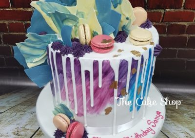 Birthday Cake - Macaron decor with chocolate shards feature