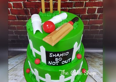 Birthday Cake - 2 tier - Cricket decor